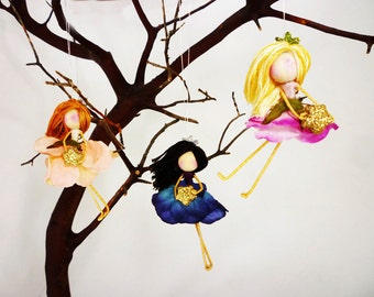 Set of 3 Flower Fairy Ornaments, Fairy Doll Miniatures, Princess Fairy Christmas, Waldorf Holiday, Faerie Dolls