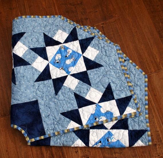 Quilted Christmas Tree Skirt, Blue Snowmen, 40 diameter