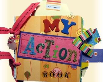 Action Mini Scrapbook,Boy Scrapbook, Girl  Scrapbook, Kid Scrapbook, Brag Book, Colorful and Bright, Premade scrapbook, Memory album