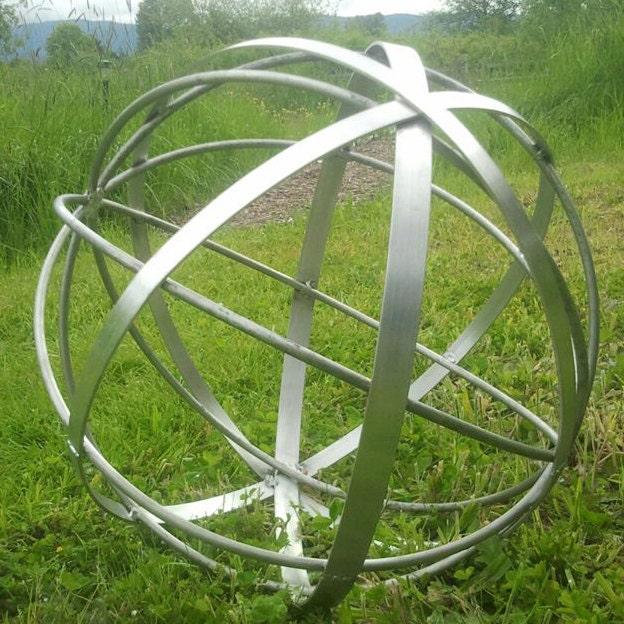 Stainless steel metal garden art sphere handmade