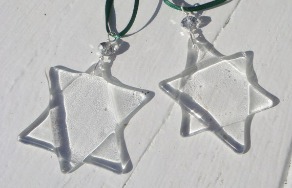 Christmas Stars Hand made fused clear glass stars set of two
