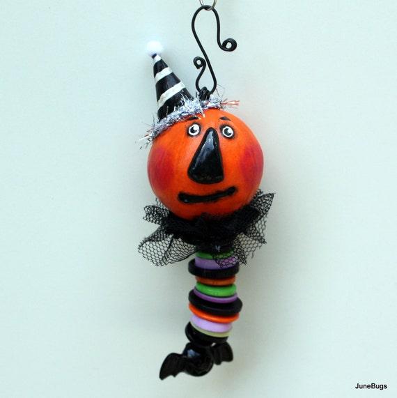 Folk Art Halloween Pumpkin Ornament Decoration