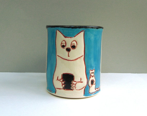 Cat Mug With Texting Kitty and Rat, Blue, Coffee Cup