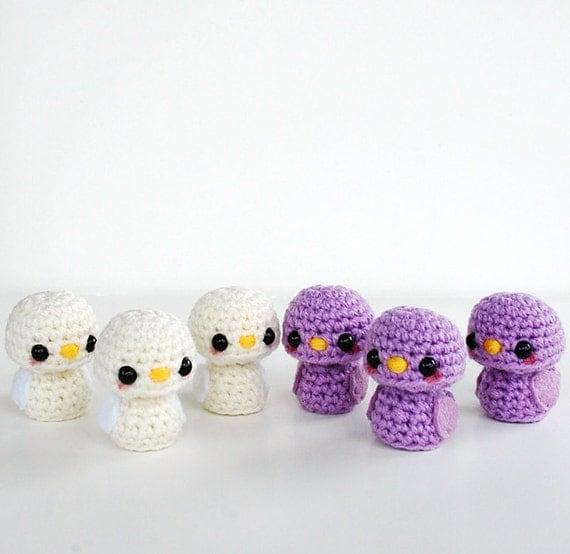 RESERVED Listing - 6 Mini Amigurumi Birds - White and Pale Purple