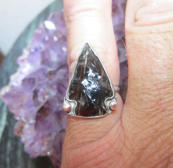 Western Sterling Silver Mahogany Obsidian Arrowhead Ring - Size 7 - SERIOUS SUBSISTENCE SIGN