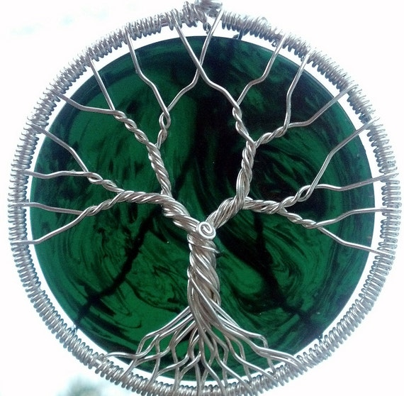 Ecofriendly Upcycled Bakelite Poker Chip Tree of Life Pendant - Recycled Sterling Silver
