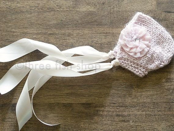 Avie Knit Bonnet with Velvet Flower Clip - Size 00 - Newborn Photo Prop - Baby Girl Hat - Photography Prop - Vintage Inspired - Rustic