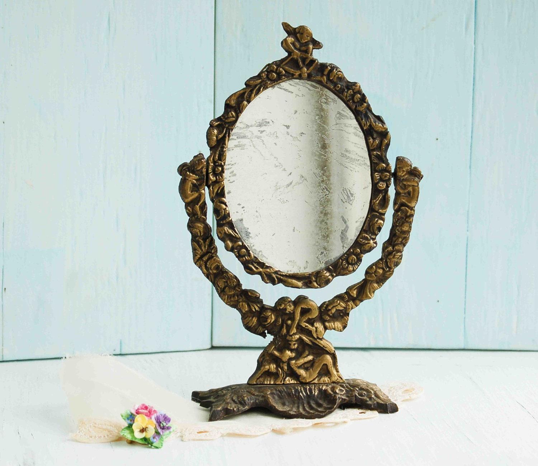 Vintage Mirror Vanity Cast Iron Mirror Angels Cherubs Shabby