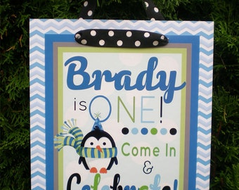 Penguin Birthday Party Door Sign Fully Assembled Decorations