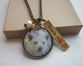 Pet Necklace - Favorite Pet or In Remembrance - Custom Photo - Tree of Life - Antique Brass - Personalized