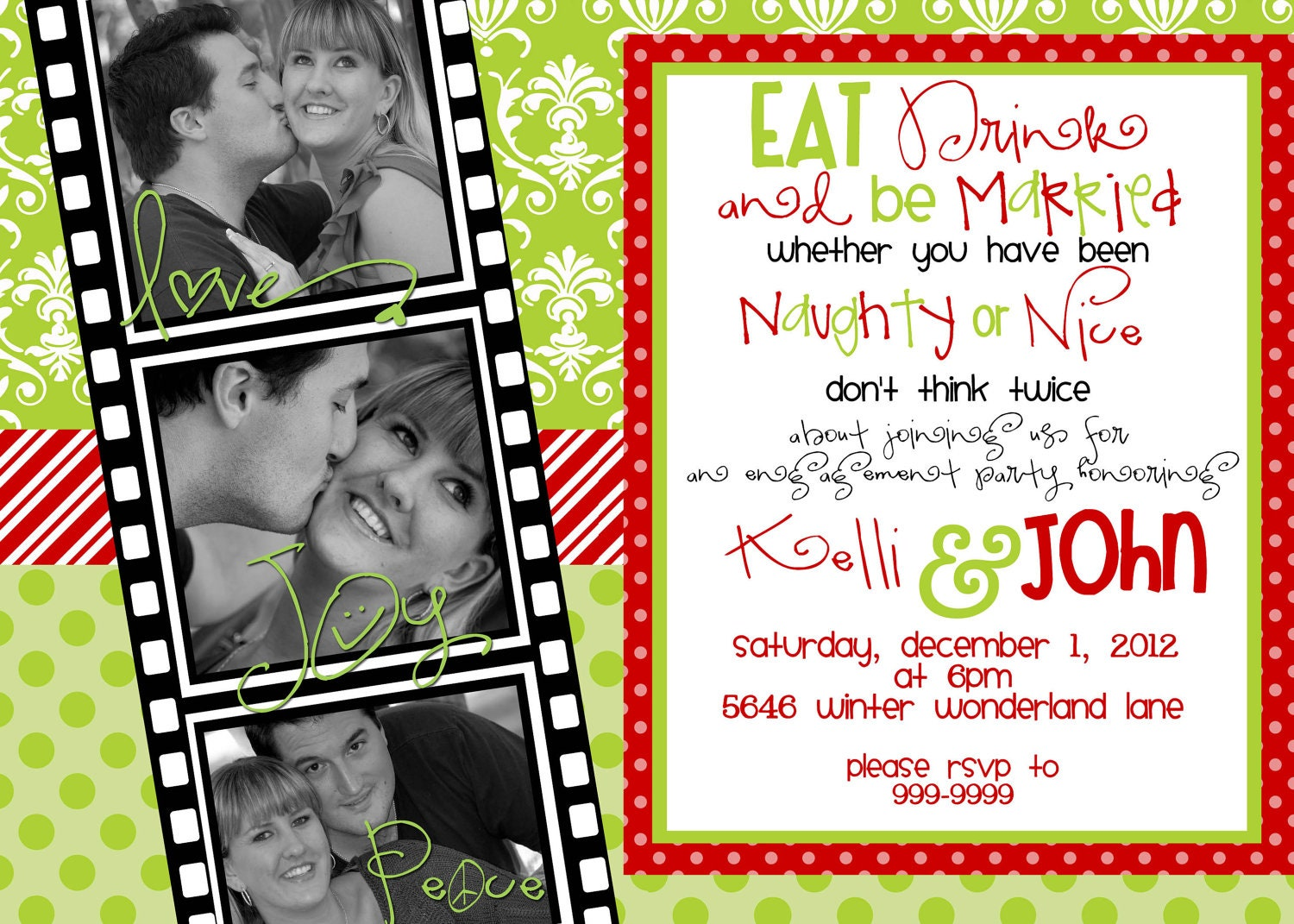 Custom designed Christmas Party Invitations Eat Drink and Be – Christmas Engagement Party Invitations