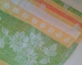 Vintage Damask Linen Table Runner, Never Used - Citrus Colors
