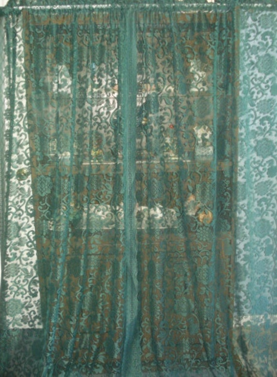 Vintage Hunter Green Floral Lace Net Curtains 2 Wide Long