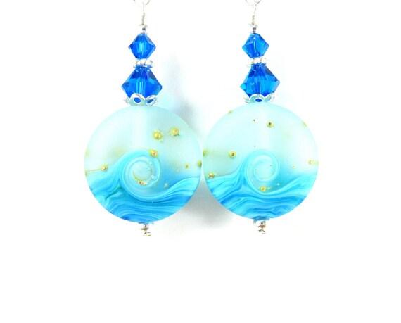Beach Earrings, Blue Ocean Earrings, Wave Earrings, Turquoise Blue Lampwork Earrings, Nautical Earrings, Beach Jewelry - Tranquil Waters