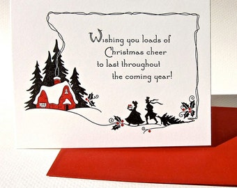 Nostalgic silhouette letterpress christmas card