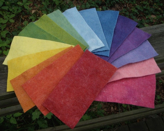 Whopper Rainbow Felt Skinny Stack with 16 Colors--Wool Rayon Felt--4 by 8 Inches--Plant Dyed