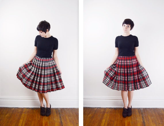 Wool 1950s Reversible Plaid Skirt - S