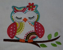 """Embroidered Iron On Applique-  Small """"Sleeping Owl"""""""