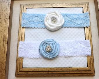 Blue Wedding Garter -  Bridal Garter and Toss Garter - Lace Garter Set -  Something Blue Wedding Garter Set