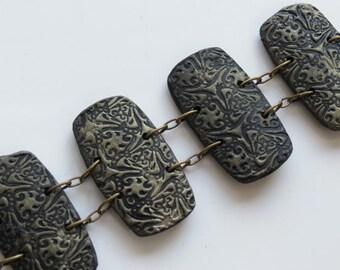 Golden Bracelet, Polymer Clay Bracelet, Handmade Bracelet, Jewelry, Textured Bracelet, Tile Bracelet, Gold, Gift for Her, Mom Gift