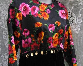 1960s cocktail party dress 60s black velvet gown, cocktail party dress, ladies ball gown, womens maxi dress, black tie event gown