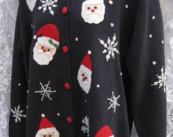 Larger ugly Christmas sweater tacky COOL BLACK Santa Claus ugly holiday sweater, beaded novelty holiday yarn embroidery embroidered