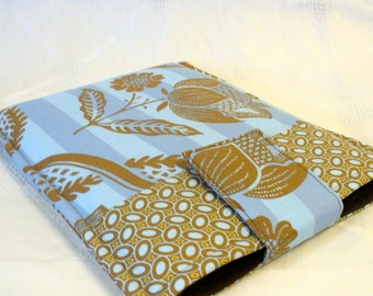 SALE Amy Butler Fabric iPad Case iPad Cover iPad Sleeve Padded Fabric Sleeve Floral Stripe Charm Blue Cinnamon Brown Ready to Ship