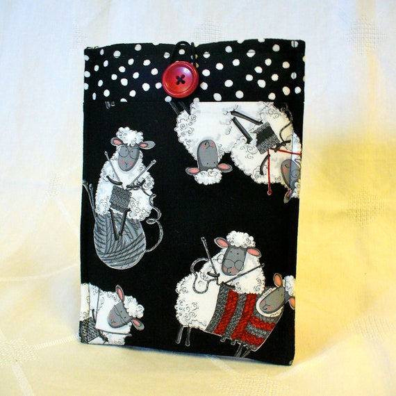 iPad Mini Case NOOK Sleeve Ereader Cover Nook Case Padded Sleeve Knitting Sheep Knitters Black White Red Fabric
