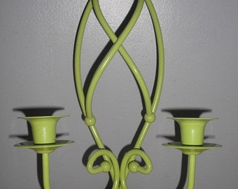 Upcycled lime green Candle sconce wall hanging ... metal ... cottage chic