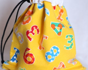 Project bag, Fabric Gift Bag, Yellow and White, Numbers, large