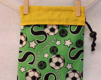 Knitting Project Bag, Soccer, Yellow and Green, Small