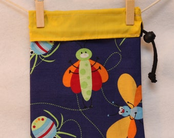 Hostess Gift Bag, Project Bag, Bugs, Blue and Yellow, Small