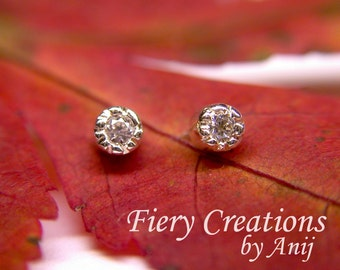 """Earring Studs  """"Moon Glow"""" -  Sterling Silver with lavishly set Cubic Zirconias with post, OOAK"""