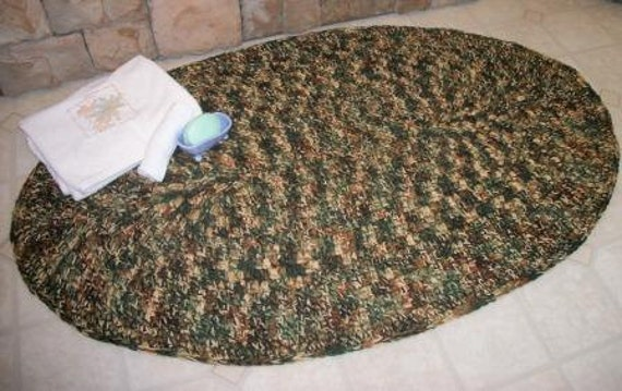 Handmade Crochet  Area Rug   Oval  Kitchen or Bath Rug  Home and Garden   Ready to Ship