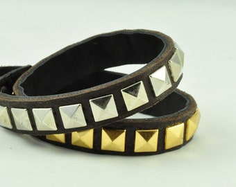 Studded Double Wrap Bracelet with Gold Pyramid Studs on Brown Leather