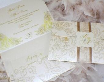Gorgeous Vintage Roses Wedding Invitations