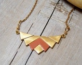 Hand Painted Brass Geometric Chevron Pendant Necklace - Coral Red
