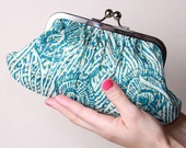 Teal Peacock Fifi medium clutch - Liberty fabric - Blue clutch bag - Purse - Removable silver nickel chain strap