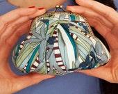 Summery blue floral Gigi purse - LAST ONE
