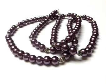 Glass Pearl Necklace. Long Glass Pearls Necklace. Mauve Glass Pearl Necklace. Pewter Mauve Glass Pearls Necklace