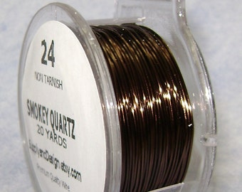 24 Gauge Smokey Quartz Non Tarnish Permanently Colored Enameled Wire, 60 Feet