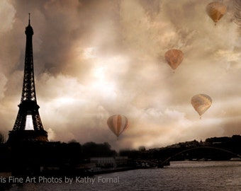 Paris Photography, Eiffel Tower Hot Air Balloons, Paris Sepia Eiffel Tower Prints, Paris Wall Art Prints, Eiffel Tower Sepia Fine Art Prints