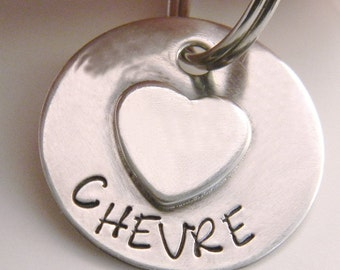 Tiny Sterling Silver Heart Pet Tag, Handmade ID Tag For Small Dogs, Puppies & Cats