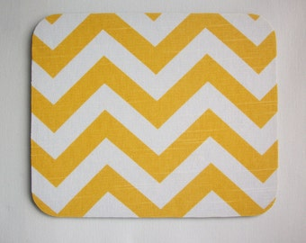 Mouse Pad mousepad / Mat -  BUY 2 FREE SHIP -- Rectangle or round - Chevron Yellow and White Zig Zag zigzag