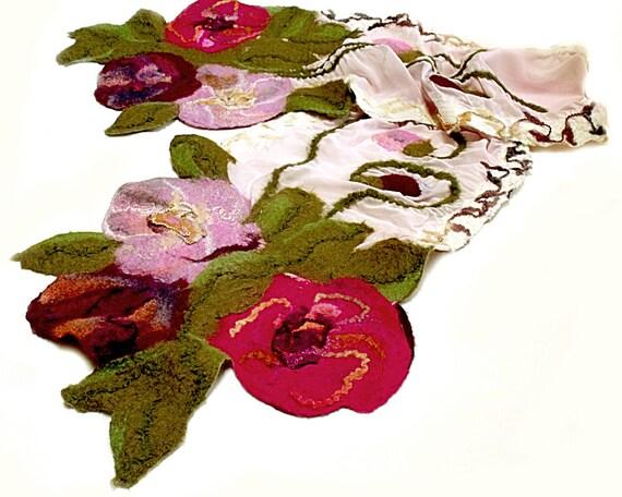 Nuno felt scarf felt flowers leaves double-sided wool rose pink fabric wearable art autumn fashion