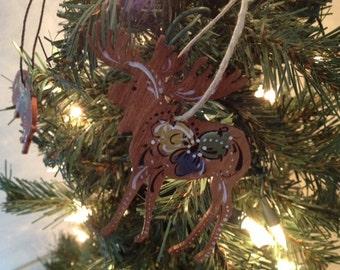 Norwegian Rosemaled Small Moose Ornament