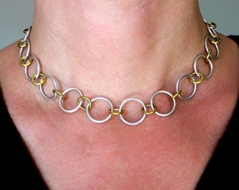 Silver and Brass Large Links Necklace - 17 inches