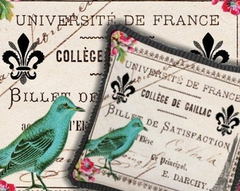 University of France Vintage Digital Collage Sheet - image transfer stationary paper supplies greeting cards - U Print