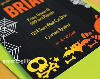 Halloween Invitation in Chalkboard Poster Art for birthday party Invite or Thank You Card Printable PDF or JPG