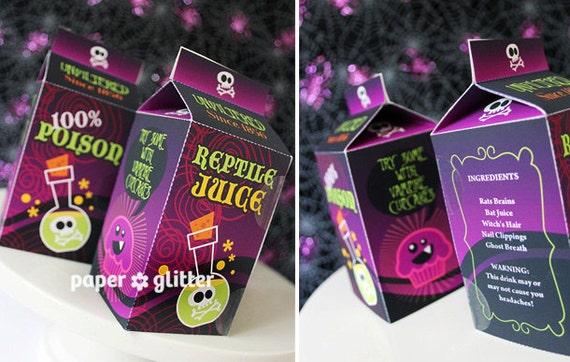 Halloween Milk Carton Favor Box Kawaii Style - Editable Text Printable PDF-You type in the text to personalize